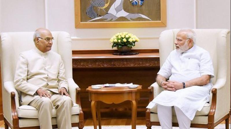 Bihar Governor Ram Nath Kovind meeting the Prime Minister Narendra Modi in New Delhi on Monday. (Photo: PTI)