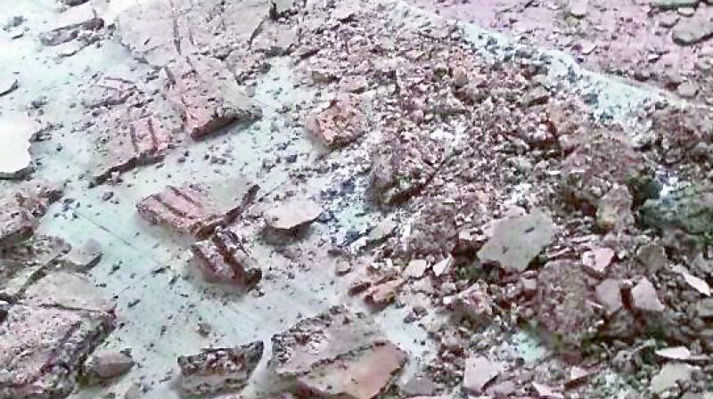 The roof of Osmania General Hospital that collapsed on Monday. (Photo: DC)