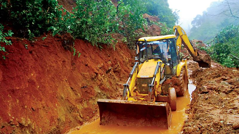 Traffic on Madikeri-Mangaluru road was affected because of landslides on Monday 	– KPN