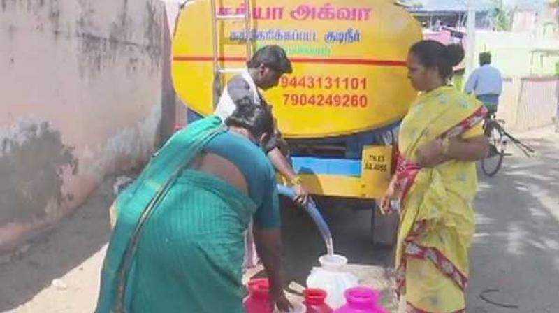 'Water scarcity this season is very acute, evident from the fact that perennial wells have also gone dry. We are forced to buy a pot of water for Rs 5,' say locals. (Photo: ANI | Twitter)