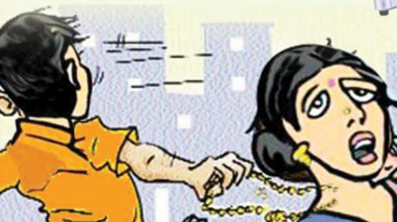 The gang attacked Hemapriya and snatched her seven sovereign gold chain.