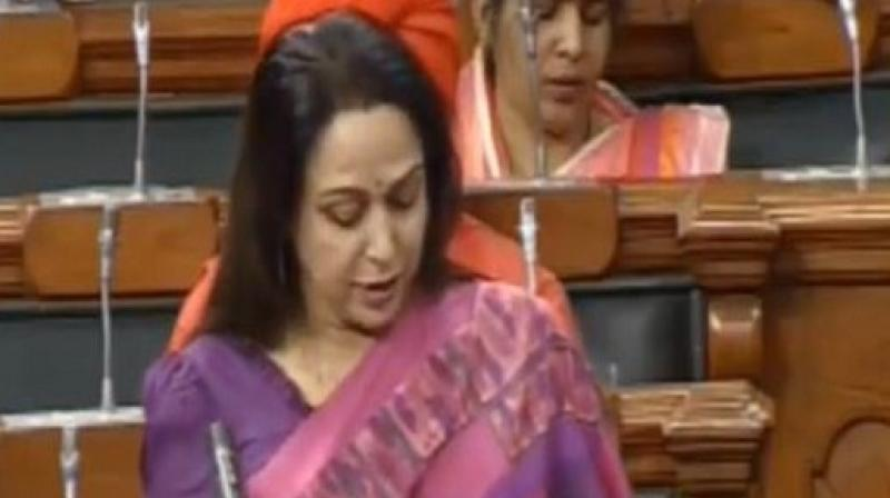However,Hema Malini claimed that due to the negligence of the state governments the scheme could not be properly implemented. (Photo: LSTV/ANI)