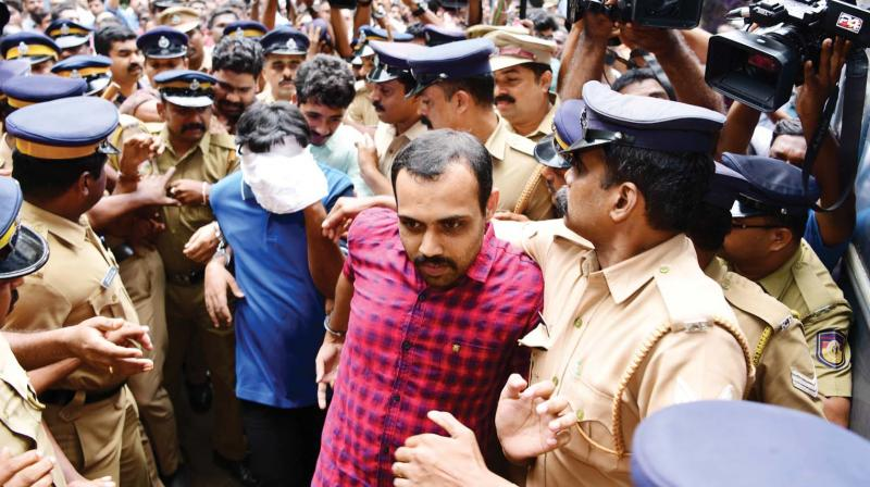 Syanu Chacko, the first accused in Kevin murder case comes out of the Principal Sessions court after the verdict in Kottayam on Tuesday. (Photo: DC)