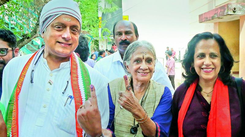 Congress leader Shashi Tharoor after casting vote at a polling station in Thiruvananthapuram. (Photo: AP)