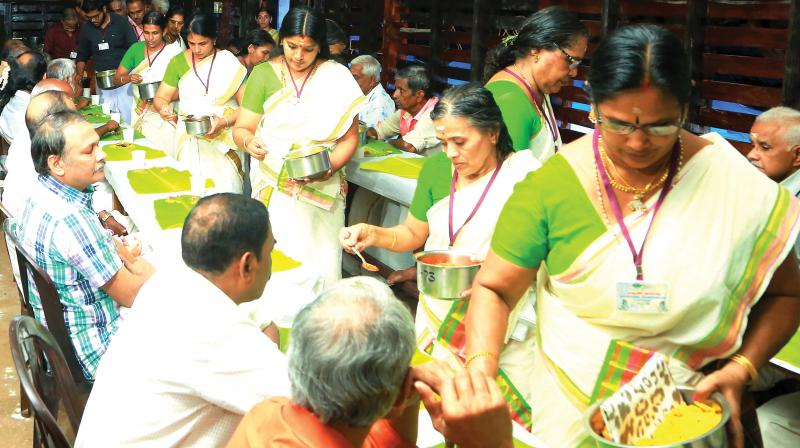 A team of 50, including engineers, scientists and students from all age groups, revive the age-old tradition of serving food in a right order from the jiggery-banana chips to the payasam.