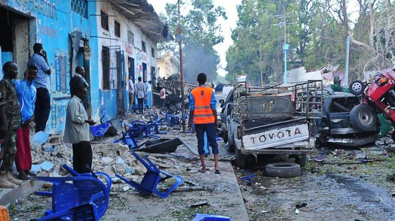 Footage from the scene showed twisted vehicles and nearby buildings with only walls left standing. (Photo: AFP)