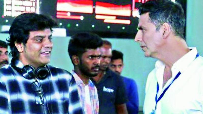 Jagan Shakti with Akshay Kumar on the film's set.