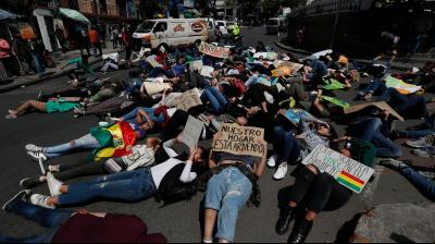 People protest against the tragic climate change in La Paz, Bolivia. (Photo: AP)