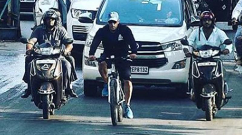 Salman Khan riding bike. (Photo: Instagram)