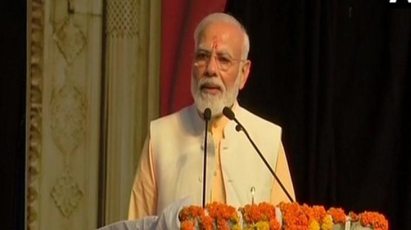 Addressing a gathering at Ramleela ground in Dwarka during Dusshera celebrations for the first time, the Prime Minister began his speech by raising slogans of 'Jai Shri Rama' amid chants of 'Modi Modi' by the people. (Photo: ANI)