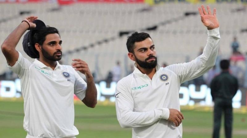 India made three changes to their playing XI with KL Rahul replacing Shikhar Dhawan and Ishant Sharma coming in for Bhuvneshwar, whose three-wicket burst in the first morning of the opening Test had rocked the hosts.(Photo: BCCI)