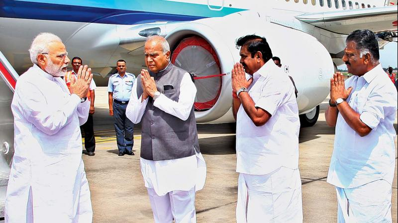 Prime Minister Modi greeted by CM, deputy CM and Governor at  airport . (Photo: DC)