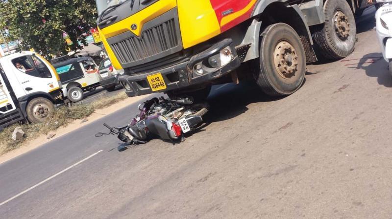 The accident spot at Vadakara on Saturday