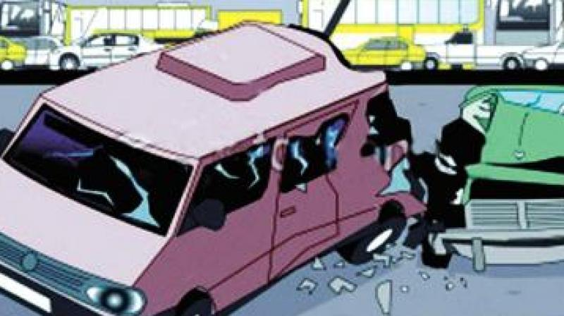The vehicle skidded and Shibu fell on to the road in the imapact.  (Representional Image)