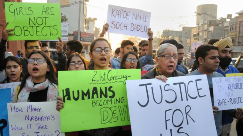 Protests were held here and at various other places in Telangana against the incident on Saturday with the enraged public demanding that the accused be handed out stringent punishment of death penalty. (Photo: PTI)
