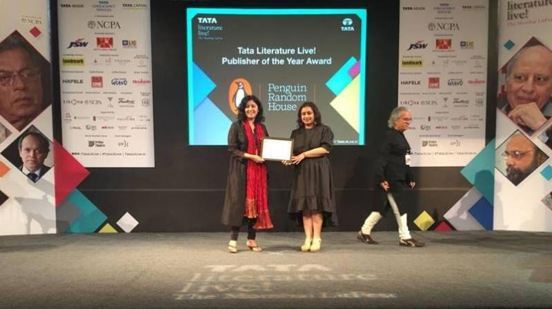 Penguin Random House India being awarded the Tata Literature Live! Publisher of the Year.