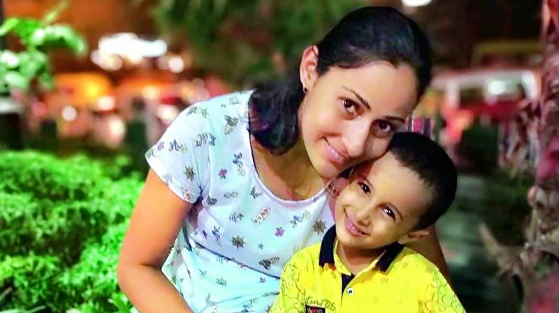 Neha Tanwar with her son