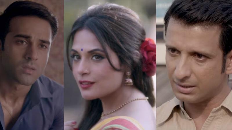 Pulkit Samrat, Richa Chadha and Sharman Joshi in '3 Storeys.'