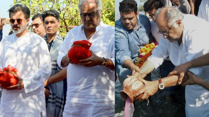 Boney and Anil Kapoor at the Ashti Visarjan of Sridevi in Haridwar on Thursday. (Photos: PTI/ AFP)
