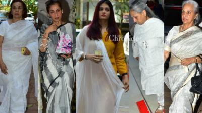 Several Bollywood stars were present at a prayer meet held in Mumbai in memory of veteran actress Shammi, who passed away on Tuesday. (Photo: Viral Bhayani)