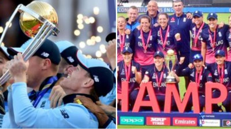ICC Men's Cricket World Cup final on July 14 witnessed a first-ever super-over in which England came out triumphant as they had scored more boundaries in the match to lift their maiden 50-over title.(Photo: Icc/alexandra hartley/twitter)