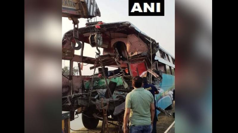 A privately operated bus rammed into a stationary truck on the Yamuna Expressway in Greater Noida. (Photo: ANI)