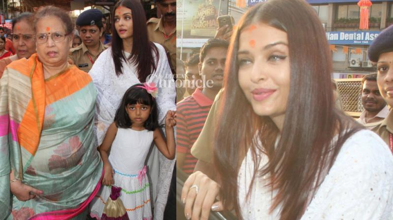 On the occasion of her 44th birthday, Aishwarya Rai Bachchan visited the Siddhivinayak temple in Dadar, Mumbai on Wednesday. (Photo: Viral Bhayani)