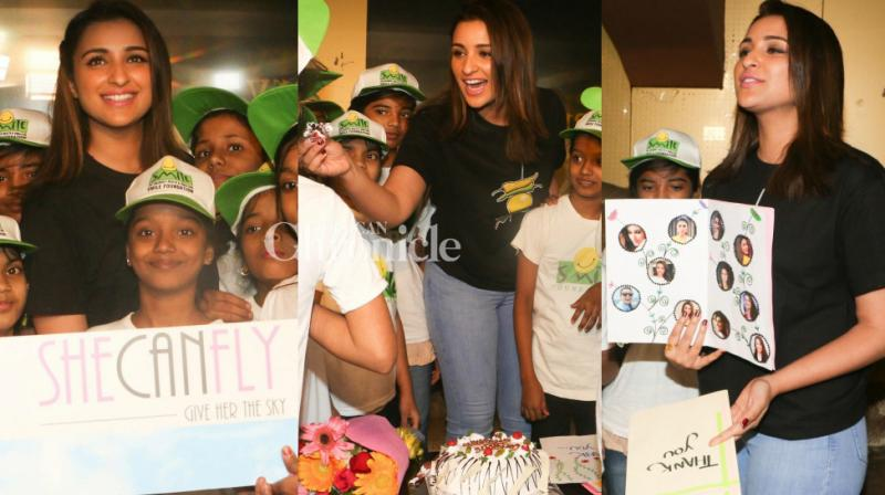 Parineeti Chopra hosted a screening of her recent blockbuster 'Golmaal Again' for kids associated with an NGO in Mumbai on Wednesday. (Photo: Viral Bhayani)