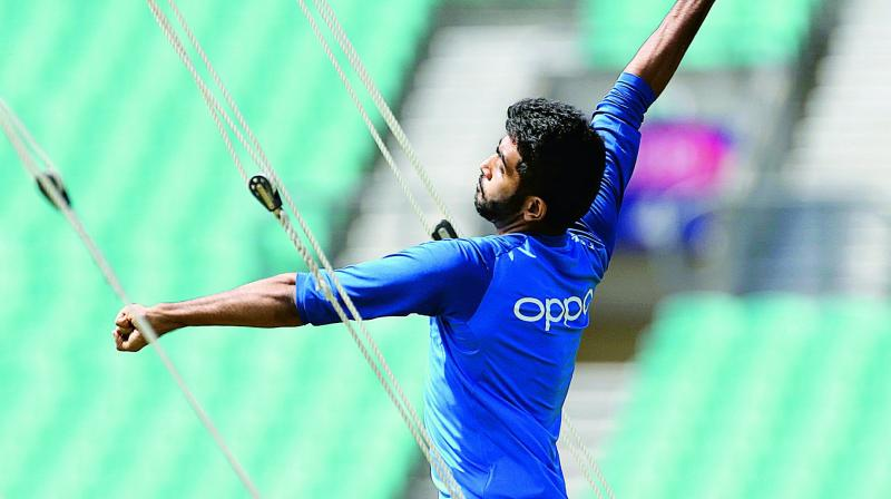 Jasprit Bumrah bowls in the nets during a training session at The Oval in London on Thursday. (Photo: AP)