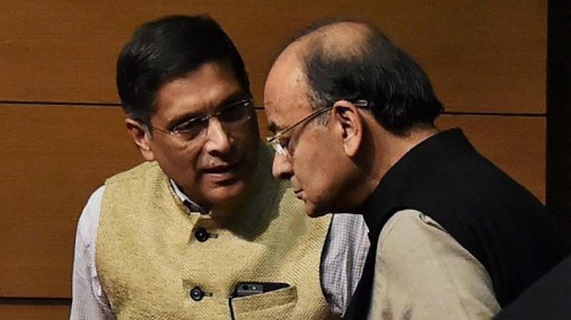 Union Minister Arun Jaitley with Chief Economic Adviser Arvind Subramanian. (Photo: File/AP)