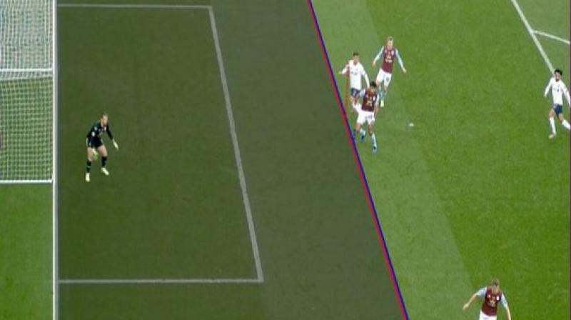 In the match between Liverpool and Aston Villa in the ongoing Premier League, a bizarre incident was witnessed as Liverpool Robert Firmino's goal was disallowed by VAR as it ruled the player's armpit offside. (Photo: Premier League/Twitter)