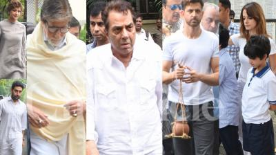 Hrithik Roshan's maternal grandfather and veteran filmmaker J Om Prakash passed away on Wednesday at the age of 93. His last rite was attended by celebs like Amitabh Bachchan, Abhishek Bachchan, Dharmendra, Farah Khan, Sonali Bendre and others. (Photos: Viral Bhayani)