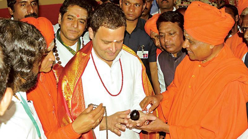 Congress president Rahul Gandhi visits Anubhava Mantap at Basavakalyana in Bidar district on Tuesday. (Photo: KPN)