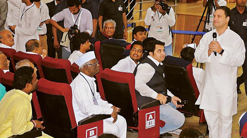 Congress President Rahul Gandhi interacts with professionals and the business community in Kalaburagi on Tuesday. (Photo: DC)