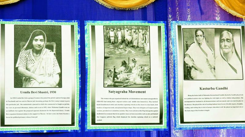 A few of the photographs on display at the Madar-e-Vatan ko Salam exhibition at the Maulana Azad National Urdu University