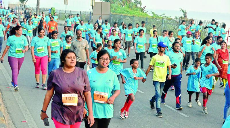 Participants at the 10k run in the city on Sunday.