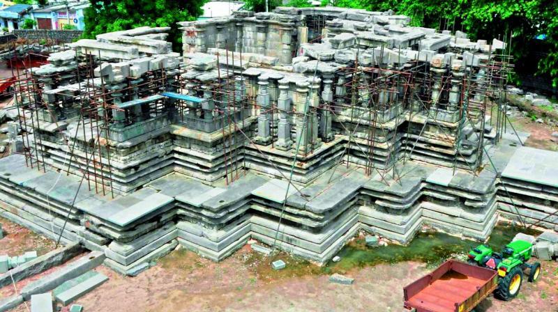 The Natyamantapam under construction at the 1,000-pillar temple in Hanamkonda.