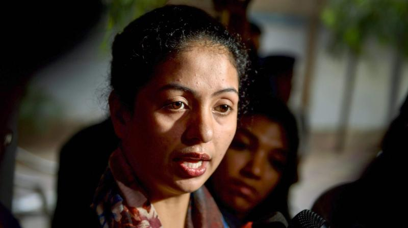 Hasin Jahan lost her cool and broke a media personnel's camera, after which she left the place in a SUV. (Photo: PTI)