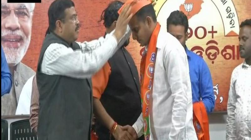 'Deserting BYV, they have joined BJP to work towards Narendra Modi's and Amit Shah's development agenda to build a New Odisha,' said Union Minister Dharmendra Pradhan. (Photo: ANI)