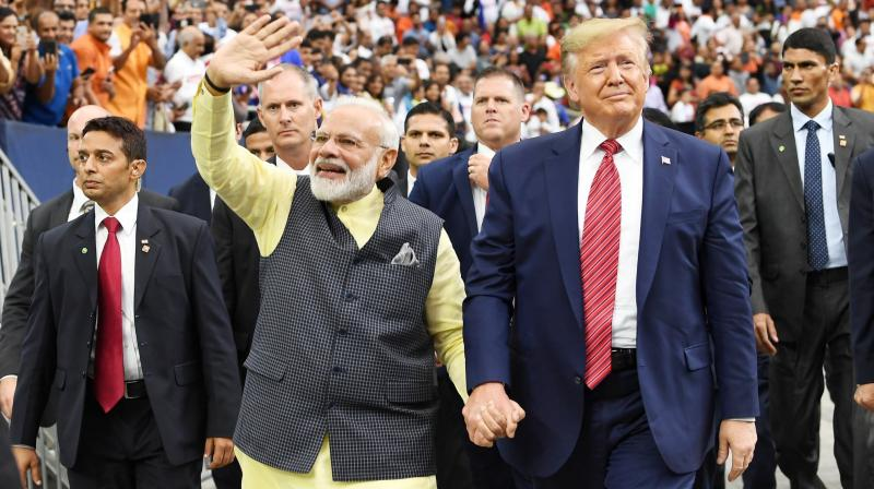 In an unprecedented and bold gesture, Trump came to Houston on Sunday to join Modi at at the largest-ever gathering of Indian-Americans in the US. (Photo: Twitter)