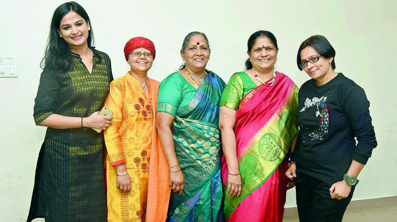 fantastic five: Mitali Vinchurkar, Sumana Chandrashekar, Dandamudi Sumathi Ramamohan Rao, Sukkanya Ramgopal and Daksha Boricha.