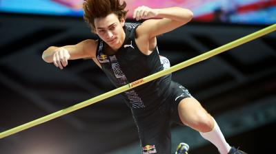 Sweden's Armand Duplantis clears the bar to set a world pole vault record of 6.17 metres at the Orlen Copernicus Cup 2020 World Athletics Indoor meeting on February 8, 2020 in Torun, Poland. Duplantis, a US-born 20-year-old who won the silver medal at last year's world championships in Doha, broke the previous record of 6.16 m set by French vaulter Renaud Lavillenie in February 2014. (AFP)