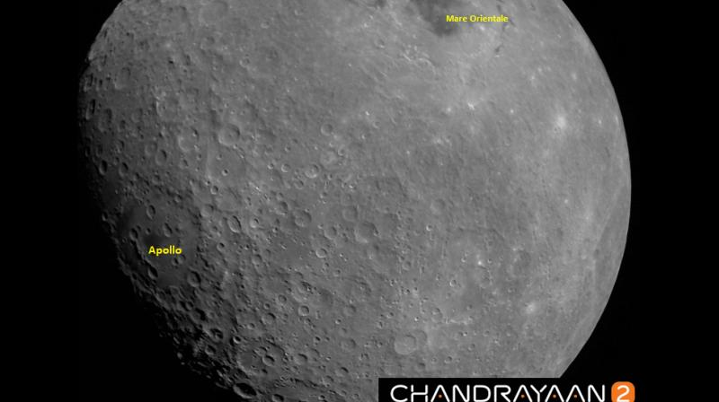 The first Moon image captured by Chandrayaan 2 Vikram Lander taken at a height of about 2650 km from Lunar surface on August 21, 2019.   Mare Orientale basin and Apollo craters are identified in the picture. (Photo: Twitter | @isro)