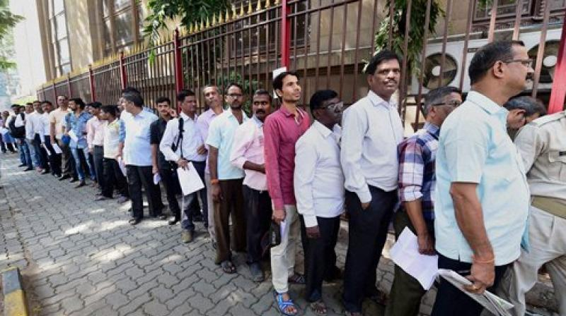 Pandey, a retired BSNL employee, collapsed after standing in the queue for 30 minutes outside a bank branch in Makronia, his son Vinod Kumar said. (Representational image)