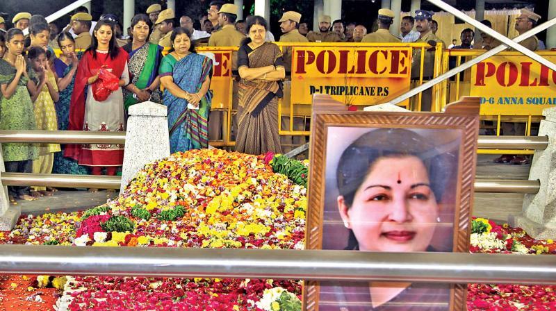 Sasikala during her visit to former CM J. Jayalalithaa's memorial near Marina on Friday. (Photo: DC)