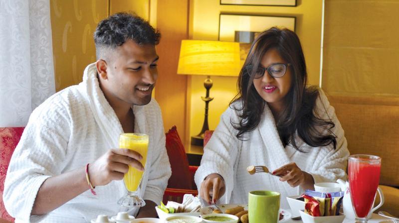 Debolina Ray enjoying a staycation with her husband Tapash Kumar Sahu.