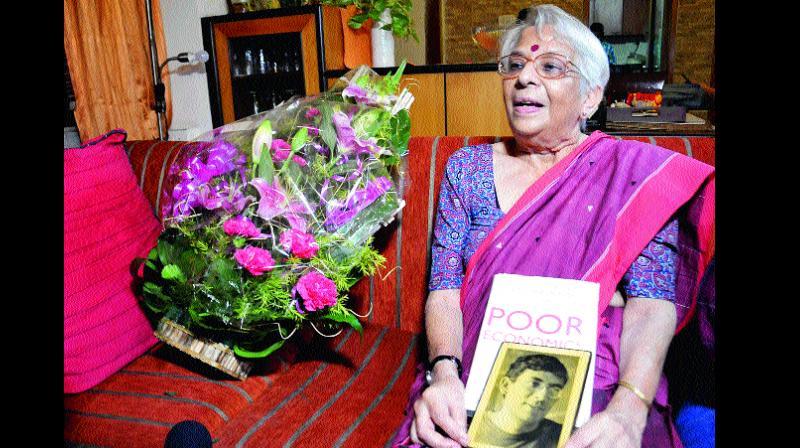 Nirmala Banerjee, mother of Abhijit Banerjee, at her residence in Kolkata on Monday (Photo: AP)
