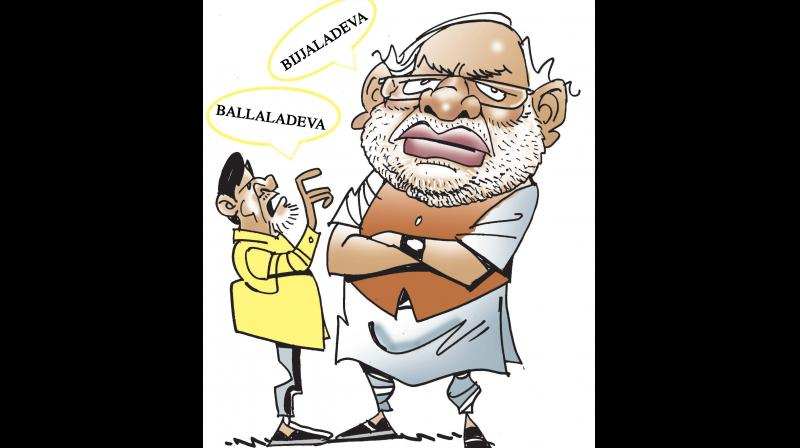 On Monday, Prime Minister Narendra Modi lashed out at AP Chief Minister N. Chandrababu Naidu by likening him to Bhallaladeva, the antagonist in the film Baahubali.  Not one to be left behind, Naidu quickly retorted by describing Modi as Bijjaladeva, and Y.S. Jagan Mohan Reddy as Bhallaladeva while his son Nara Lokesh described Modi as Kalakeya — all evil characters from the epic film.