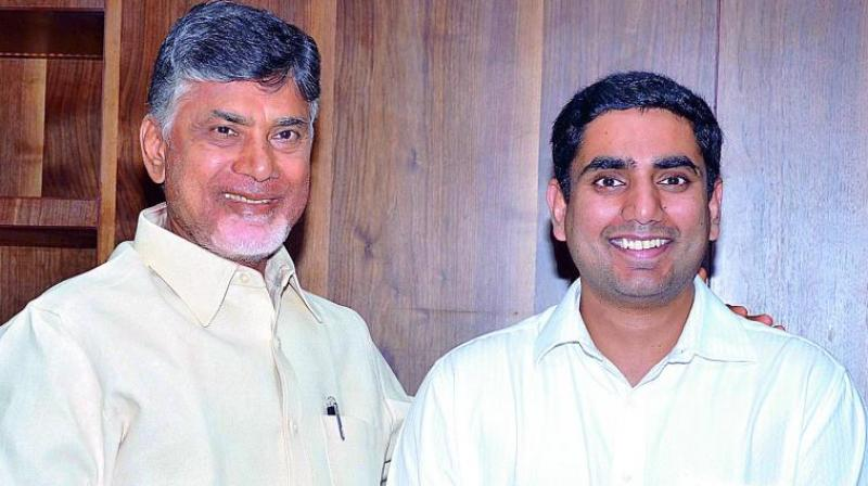 CM Chandrababu Naidu and son Lokesh.