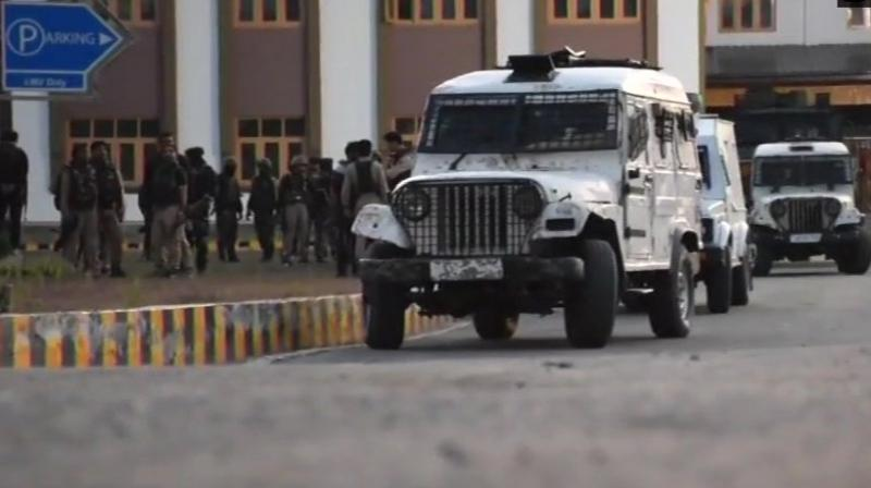 The terrorists opened fire at the police picket guarding the district court complex in Pulwama town in the early hours, a police spokesman said. (Photo: ANI/Twitter)